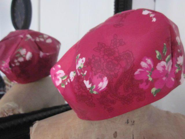 Chapeau de pluie framboise à fleurs(4)