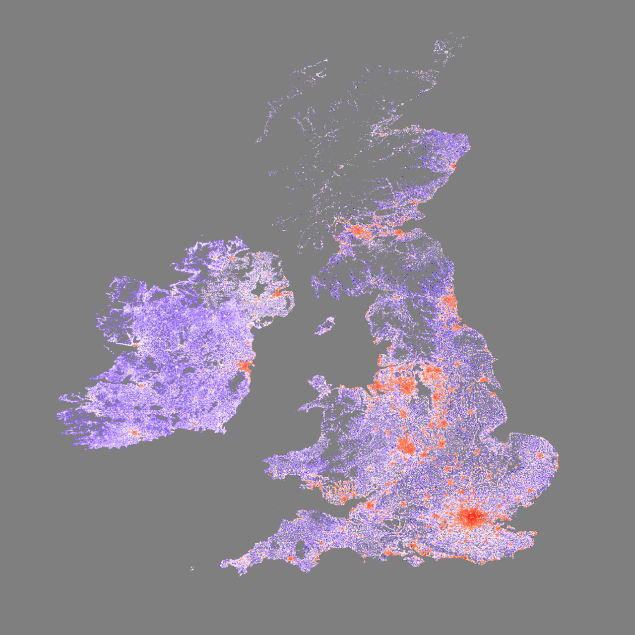 Map of Most of British Isles made by where people live