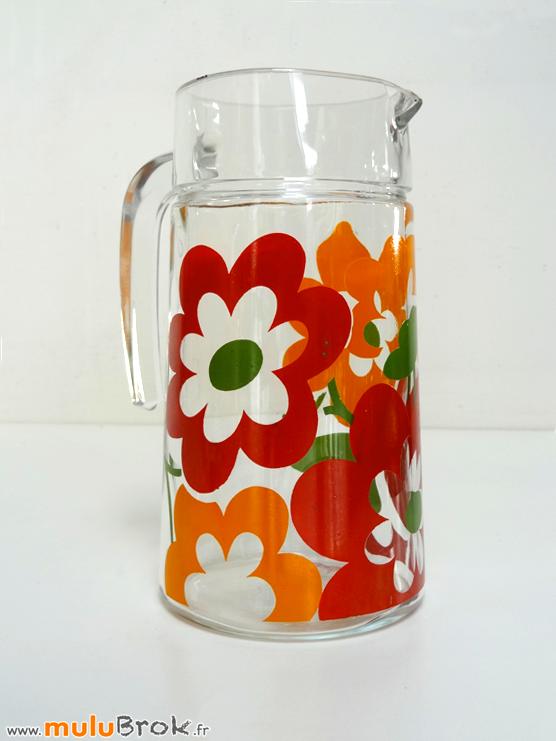 PICHET-Vintage-Fleurs-Lotus-6-Verre-muluBrok-Brocante