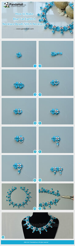 2-How to Make Blue Cat Eye Beads Stitch Necklace