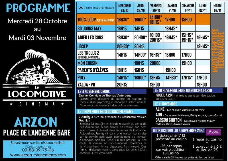 Programme cinéma du 28 au 3 nov