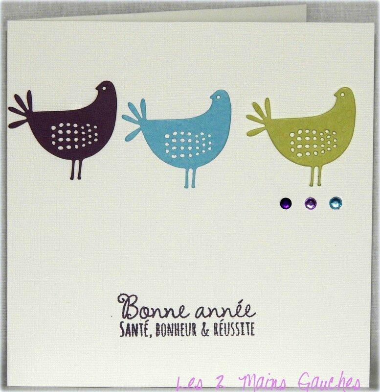 carte de voeux avec 3 poulettes