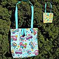 Tote-bag réversible hippie fleurs et combi-van en coton
