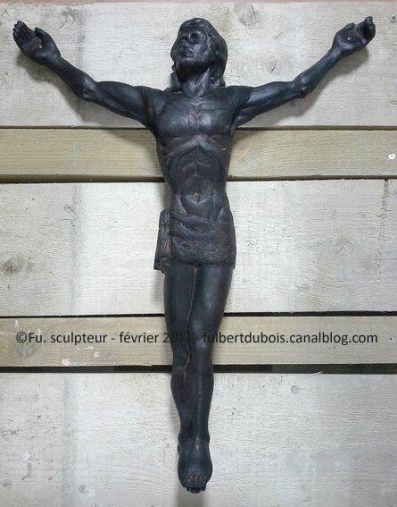 Fu sculpteur - Christ - bois brûlé - h67cm - sculpture 37