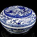 A fine imperial blue and white dragon and phoenix box and cover, china, underglaze blue six-character mark wanli and of the peri