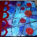 Red bubbles on blue,20x20cm