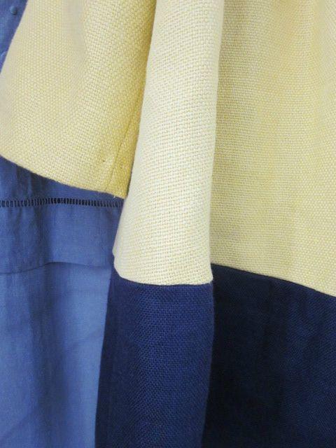 Manteau d'été bicolore en lin jaune et marine