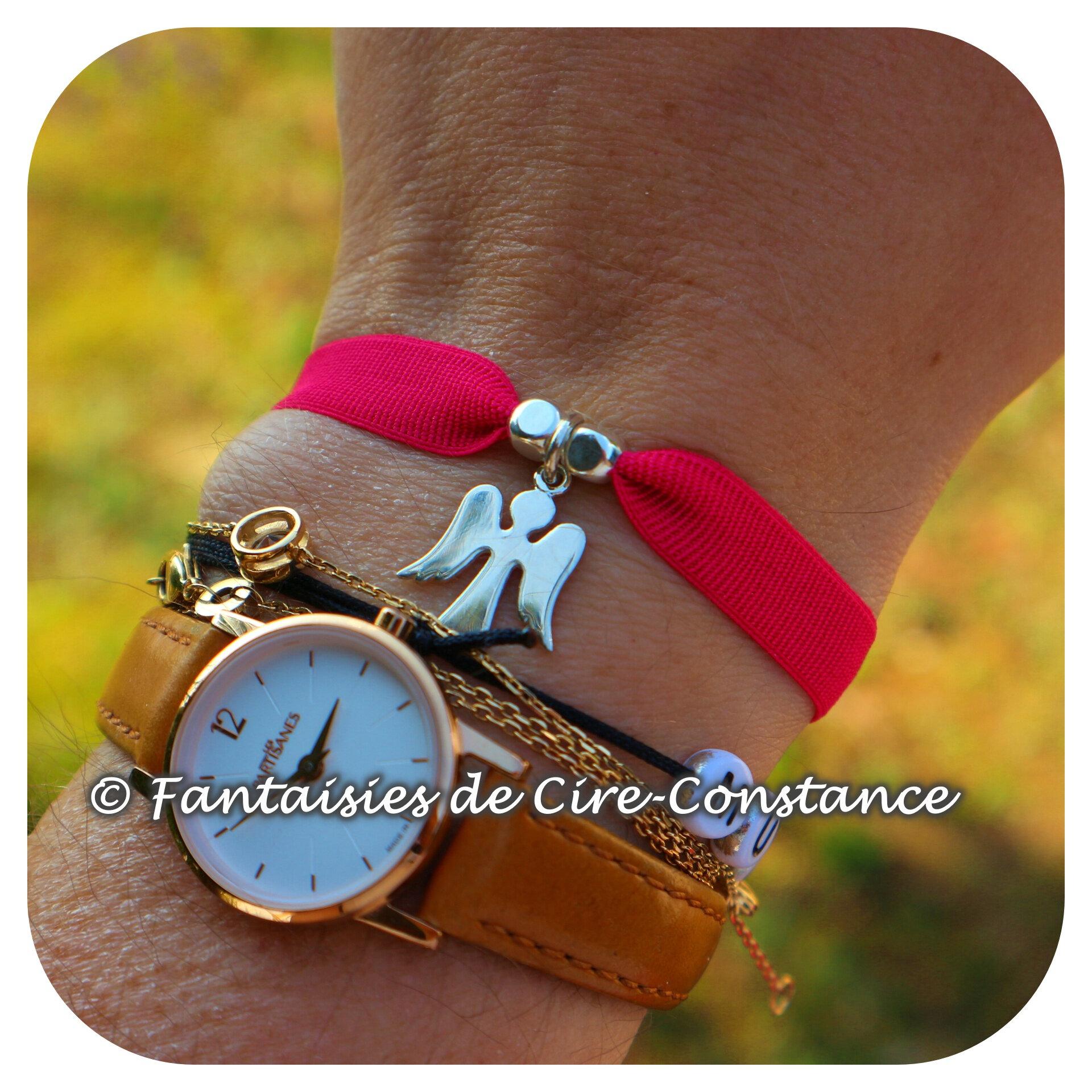 Bracelet ange argent ruban élastique pendentif