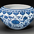 A rare blue and white ming-style 'alms' bowl, 18th century