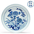 An unusual small blue and white dish, kangxi six-character mark in underglaze blue within a double circle and of the period