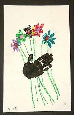 carte fleurs empreinte main