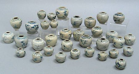 A group of thirty-four blue and white jarlets. Late 15th/Early 1