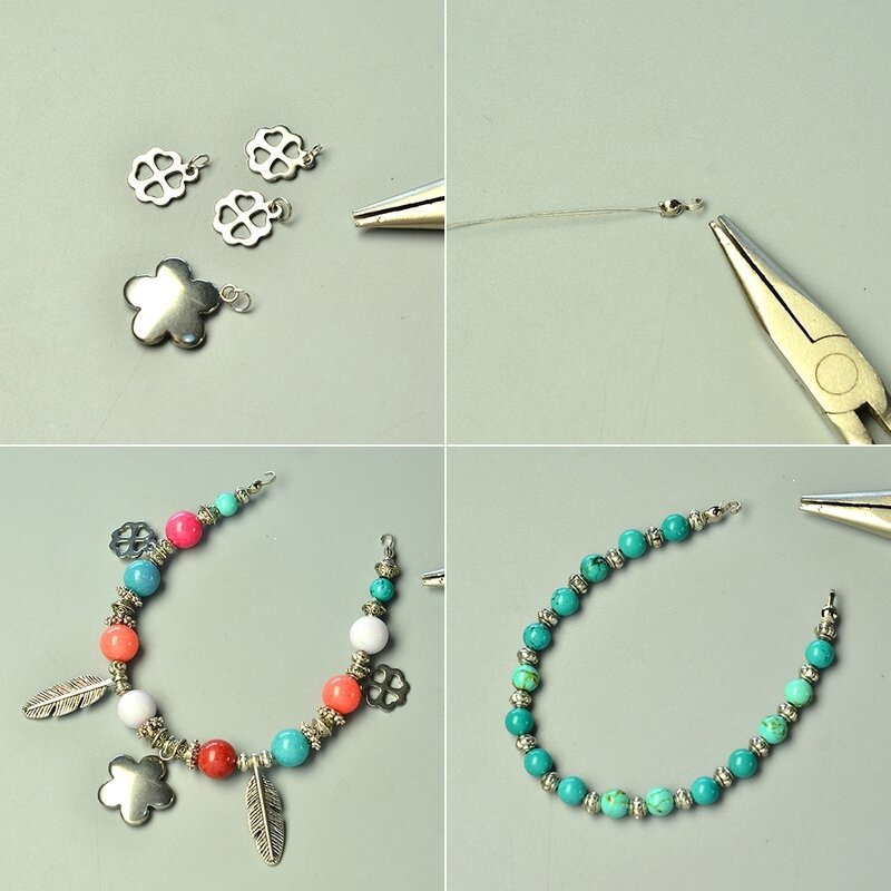 PandaHall-Tutorial-on-Two-strand-Mix-Beads-Bracelet-with-Tibetan-Style-Feather-Pendants-2