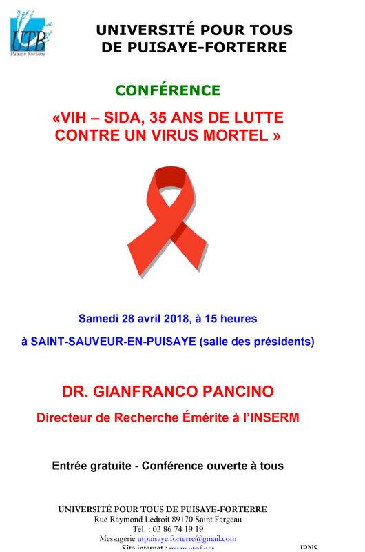Affiche conférence de Gianfranco Pancino 28-04-18