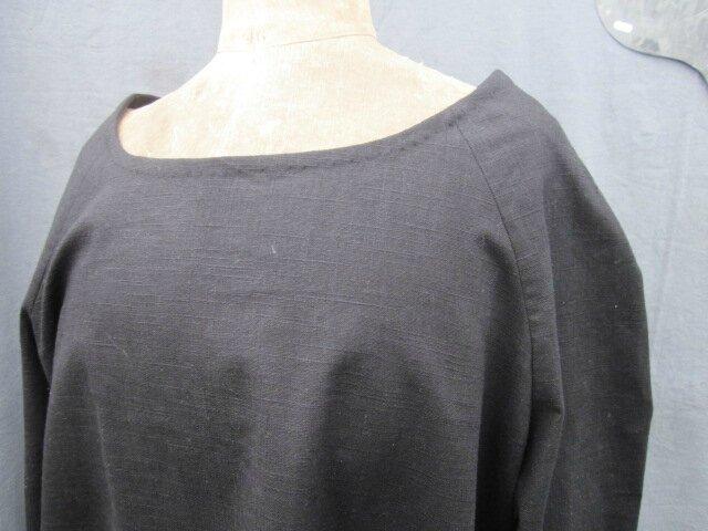 Tunique EDMEE en lin noir (6)