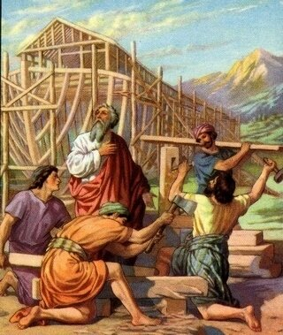 Noah-c, Arche-Noah and his_sons_building_the_ark