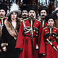 Tsar Nicholas II of Russia and his children with Cossack officers, 1916
