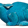 A turquoise-glazed figure of a tapir, qing dynasty, qianlong period (1736-1795)