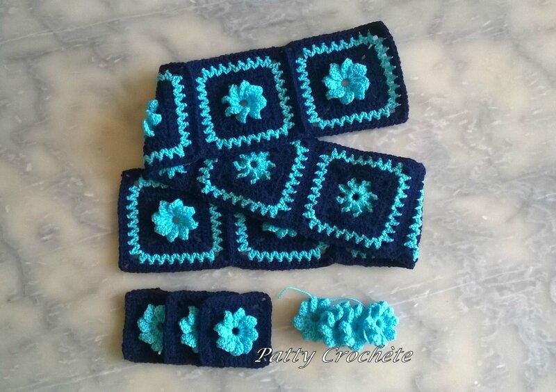 Avancées couverture bébé marine-fleur turquoise