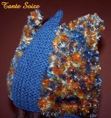 Bleu & Or couronne de Noël (modèle chez Tricotinette)
