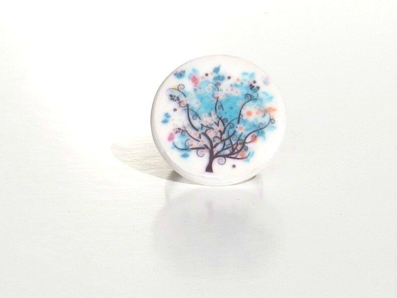 bague fimo arbre fleurs bleus face