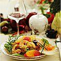 Salade de crevettes aux agrumes, raisins frais....