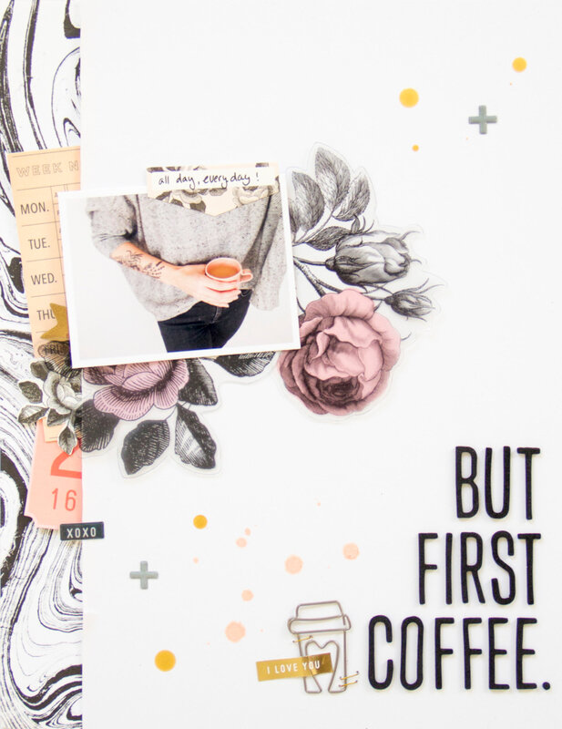 FirstCoffee_ScatteredConfetti_Scrapbooking_Layout_MaggieHolmes_CratePaper_1