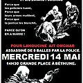 Verite et justice pour lahoucine tué à montigny-en-gohelle (62)- rassemblement 14 mai à bethune