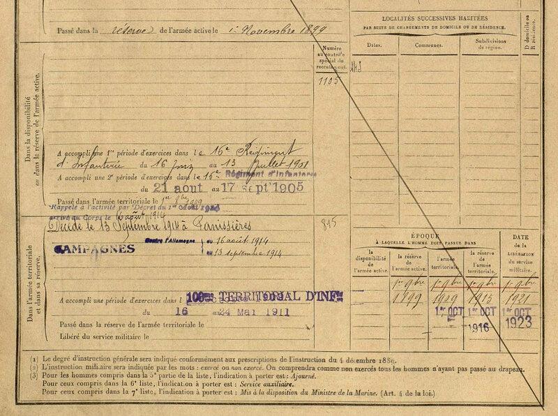 Dupré Francisque, fiche matricule (2)