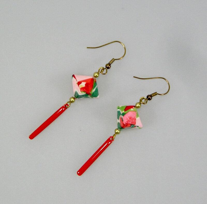 Boucles d'oreilles origami papier japonais rouge Maud 1