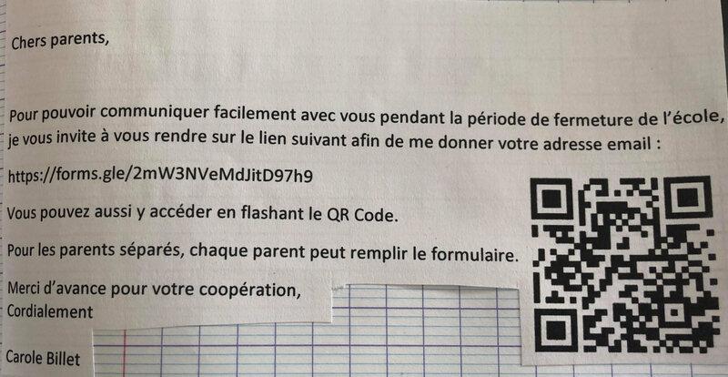 coronavirus cm1 demande email