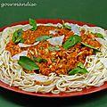 Spaghettis bolognaise au crabe d'après jamie oliver