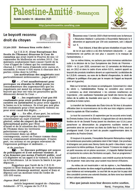 Bulletin 14 Palestine-Amitié couv