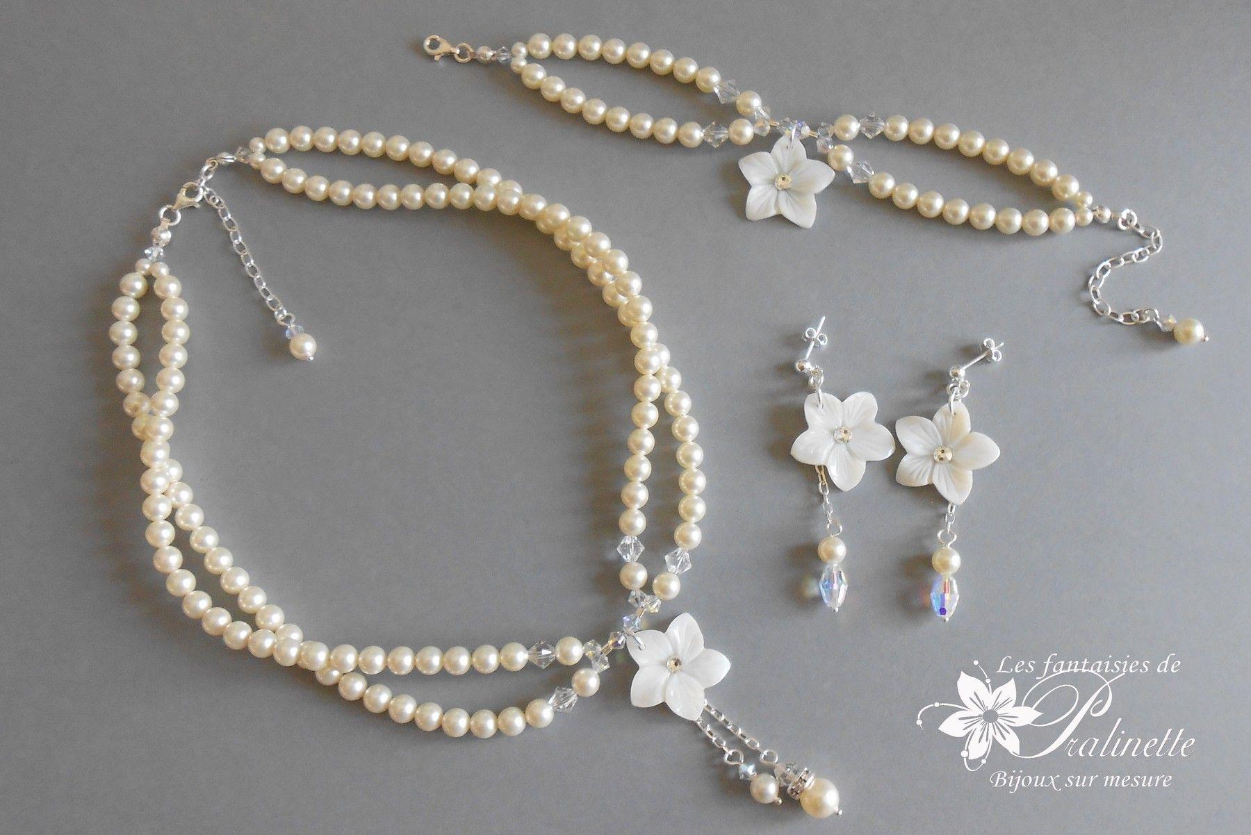 Parure de mariage sur-mesure en argent et perles de cristal nacré