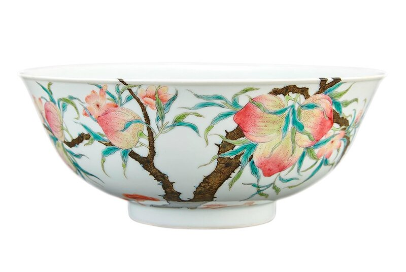 Chinese Famille Rose Enameled Porcelain Bowl, Qing Dynasty