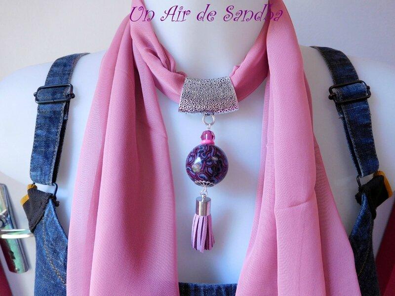 Bijou de foulard Vieux rose (5)