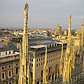 Coucher de soleil au duomo, cathédrale de milan
