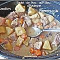 Sauté de porc au bleu d'auvergne, pommes de terre et carottes
