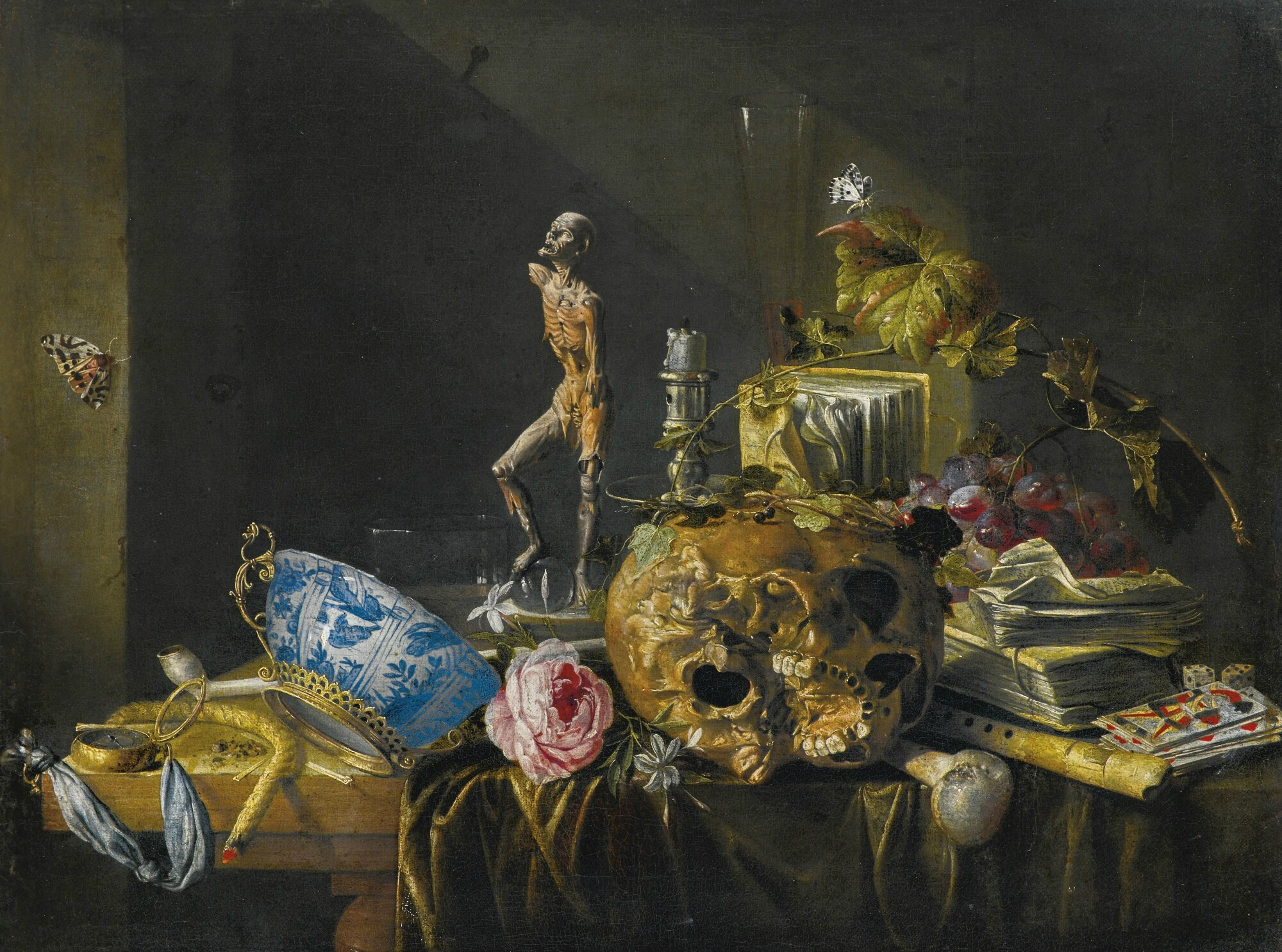 Cornelis de Heem (Leiden 1631 - 1695 Antwerpt), A vanitas still life with a skull and an écorché, on a draped table