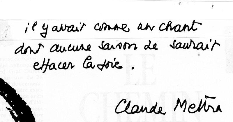 comme un chant, Claude Mettra