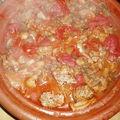 Tajine de boulettes d'agneau aux tomates et champignons