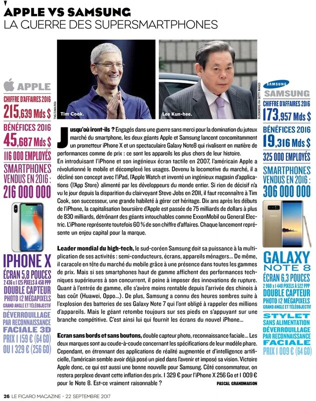 samsung vs apple -Le Figaro Magazine 23 Septembre 2017