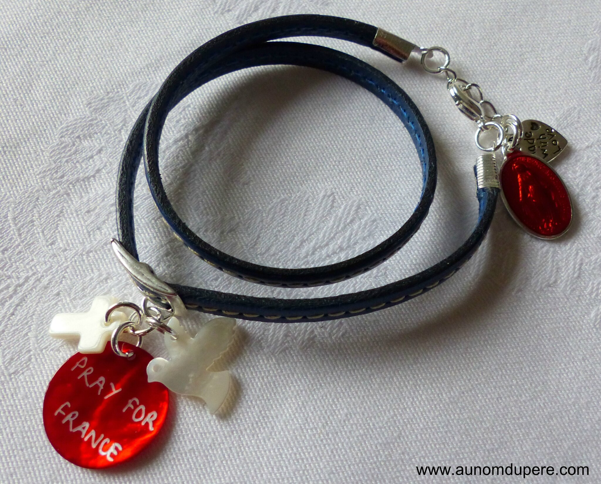 Bracelet en cuir double tour Pray for France (bleu)