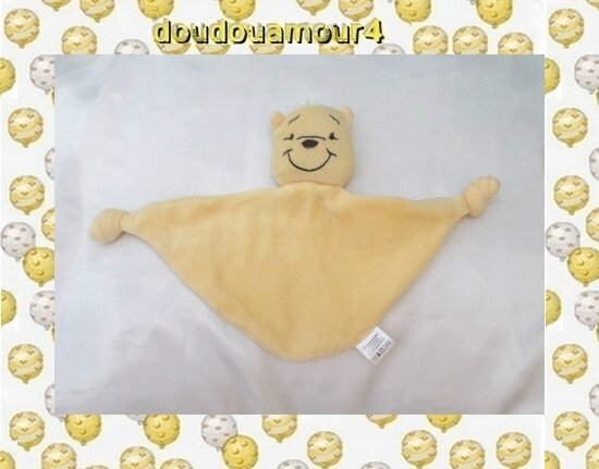 Doudou Plat Triangle Winnie L'ourson Jaune 2 Noeuds Sun City