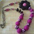 collier rose et brun fimo et laine