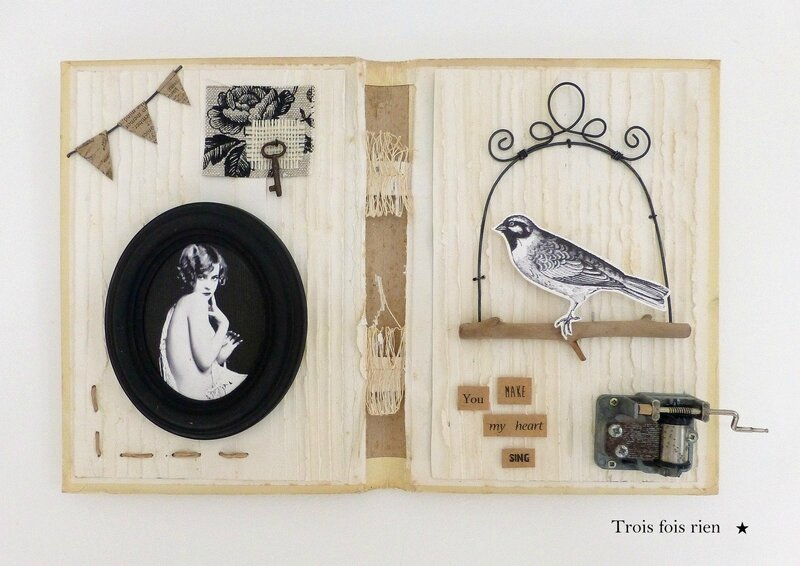 You make my heart sing, altered book, mixmedia, shabby, récup', matières naturelles, trois fois rien, 1