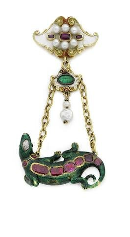 A 19th century and later gem-set and enamel salamander brooch