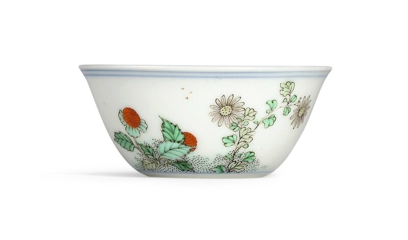 A famille-verte 'flower and butterfly' wine cup, Mark and period of Kangxi (1662-1722)