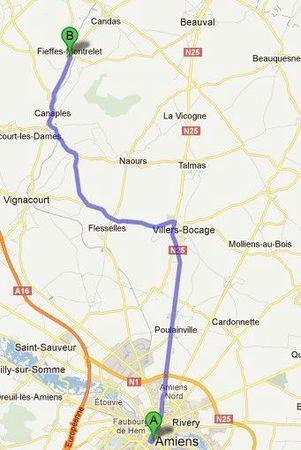 Carte Amiens - Fieffes Montrelet