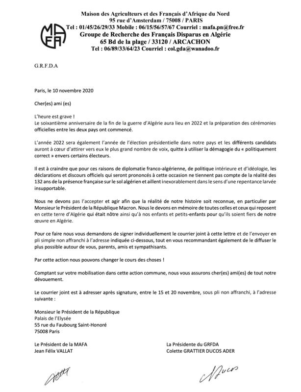 lettre MAFA, 10 nov 2020